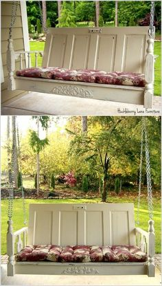 Porch swing made from old door & table. Porch swing made from old door & table. Porch swing made from old door & table. Repurposed Furniture, Diy Furniture, Repurposed Doors, Recycled Door, Vintage Furniture, Furniture Showroom, Furniture Logo, Furniture Chairs, Steel Furniture