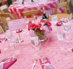 Pink wedding reception table! Perfect!! I would love pink EVERYWHERE, please!