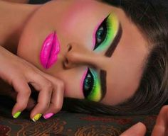Neon is Hot!!! 80's party makeup