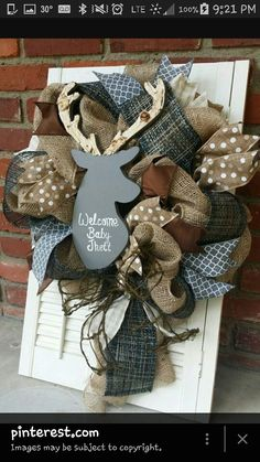 Woodland Nursery Decor Gray Deer Wreath Rustic Nursery Woodland Burlap Wreath Antler Deer Baby Shower Burlap Baby Decor Wreath Baby Decor Grey Brown Nursery ** You can find out more details at the link of the image. (This is an affiliate link) Deer Nursery, Woodland Nursery Decor, Brown Nursery, Woodland Theme, Rustic Theme, Rustic Nursery Boy, Hunting Theme Nursery, Deer Themed Nursery, Woodland Baby