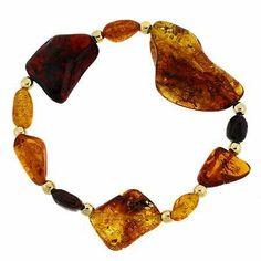 18K Gold over Sterling Silver Genuine Honey, Brown & Amber Stone Nugget Bead Stretch Bracelet SilverSpeck.com. $29.99. Save 54%!