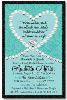 Diamonds & Pearls Tiffany Blue Bridal Shower Invitation [DI-1507] : Custom Invitations and Announcements for all Occasions, by Delight Invite
