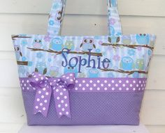 Aqua / Purple Owls Sitting in a Tree Quilted Purse / Tote / Diaper Bag. $40.00, via Etsy.