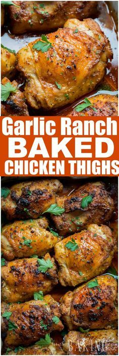 This recipe is our go to recipe for busy weeknight dinners. Garlic Ranch Baked Chicken Thighs are crispy on the outside and very tender on the inside. Just toss the chicken thighs with ranch seasoning and garlic, then bake!