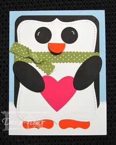 Penguin punch art card by Debbie Naylor