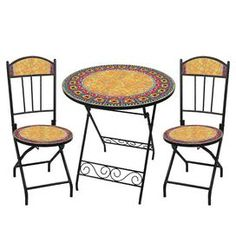 Three-piece outdoor bistro dining set with hand-arranged ceramic tiles. Includes one folding table and two folding chairs.   Product: Table and 2 chairsConstruction Material: Powder-coated metal and ceramicColor: Navajo ringFeatures:  Table and chairs fold for easy transport and storageRust free Dimensions: Table: 28.5 H x 27.5 Diameter Chairs: 33.25 H x 14.25 W eachNote: No two pieces are identical