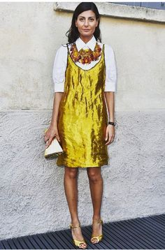 Golden dress and statement necklace over white short sleeve shirt and yellow peep toe heels - Italian Fashion bLOGGER STREET STYLE