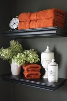 guest bathroom ideas qw // Quick ideas to transform the bathroom! guest bathroom ideas qw // Quick ideas to transform the bathroom! Love bringing in flowers and candles. Do It Yourself Organization, Deco Design, Design Design, Design Ideas, Interior Design, Bath Decor, Orange Bathroom Decor, Bathroom Colors, Burnt Orange Bathrooms