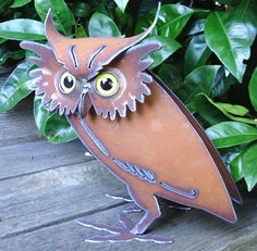 metal sculptures for the garden | Owl metal sculpture. Handmade in the USA by artist Henry Dupere of ...