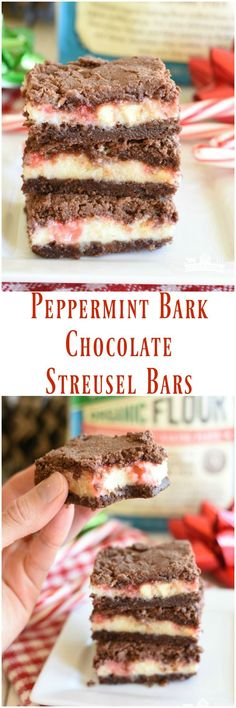 #AD Peppermint Bark Chocolate Streusel Bars have a luscious mint cheesecake layer nestled between melt in your mouth chocolate layers on the top on bottom! #Bob'sRedMill