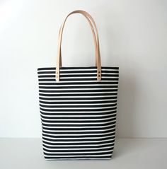 Black and White Striped Canvas Tote with by UmbrellaCollective