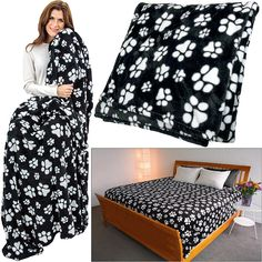 "SuperCozy™ Black & White Paw Blanket - Full, $34.95, Twin, $32.95; Ultra cozy and covered in pawsitive vibes, our fleece blanket is the ideal choice when a good night's rest is needed. An effortless way to show your love for your treasured four-legged friends. 100% polyester fleece; Twin: 66"" x 86""; Full: 76"" x 86""; Queen: 86"" x 86""; King: 102"" x 86""."