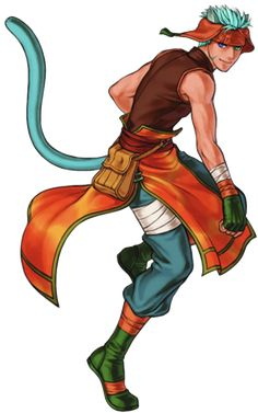 Ranulf - Fire Emblem: Path of Radiance & Radiant Dawn; in Radiant Dawn, Ranulf hires Ike & the Greil Mercenaries to fight for the Alliance. He is of a Cat Laguz origin. Laguz are people who can shift from being human to animal. He is a bright & friendly individual, & has the tendency to be cheeky when he addresses others.