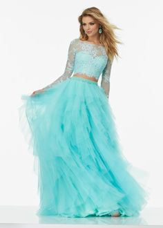 Beautiful Long Sleeved Lace Crop Top Ruffled Tulle Aqua Two Piece Ball Gown