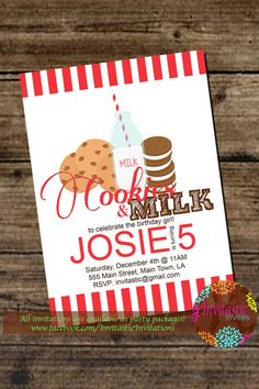 Cookies and Milk Birthday Party Invitation - Cookies and Milk Holiday Birthday Invitation- Gilr or boy Cookie Party -DIY or Print Packages