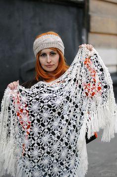 Blanco crochet encaje chal blanco nupcial mantón abrigo por Nastiin