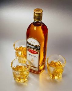 Fools Gold - 1/2 oz. Bushmills Original Irish Whiskey, 1/2 oz. Grand Marnier, 1/2 oz. Cinnamon flavored liqueur.