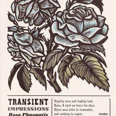 Floral woodcut / letterpress poster print by Cannonball Presstechnique