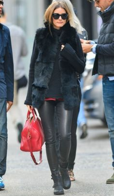 Olivia Palermo wearing Daryl K Stretch Leather Pants in Black Report Jude Moto Boot Louis Vuitton Sofia Coppola Satchel bag