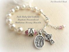 Irish Catholic Baby Personalized Birthstone by TheCherishedBead, $25.00
