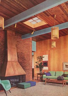 from a ca 1960 Better Homes & Garden Decorating Ideas book.  Color scheme/decor are a bit different, but otherwise, this could be our living room.