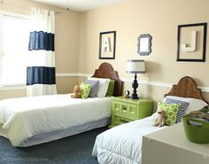 """I love the apple green and navy combo in this """"Big Boy Room"""" Transformation Reve. - I love the apple green and navy combo in this """"Big Boy Room"""" Transformation Reveal - Bedroom Makeover, Boys Bedroom Makeover, Girls Bedroom, Boys Room Decor, Bedroom Decor, Boys Shared Bedroom, Home Decor, Room, Big Boy Room"""