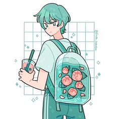 """Backpack and boba 🌷✨meet cherry's BFFL Cola! I made her kinda the """"opposite"""" of cherry in terms of color palette and character! Aesthetic Drawing, Aesthetic Anime, Aesthetic Art, Arte Do Kawaii, Kawaii Art, Cartoon Kunst, Cartoon Art, Arte Copic, Japon Illustration"""