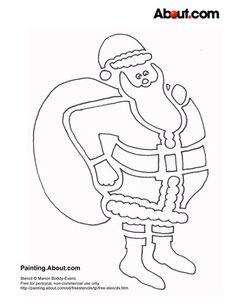 Free Christmas Stencils: Free Christmas Stencil: Santa