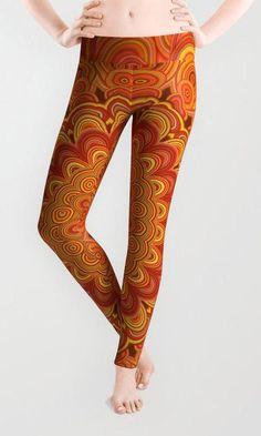 Orange Fire Flower Mandala Leggings by davidzydd Fire Flower, Bohemian Flowers, Boho Fashion, Womens Fashion, Flower Mandala, Printed Leggings, Yoga Pants, Women Wear, Warm