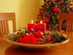 Centro de mesa con velas de Navidad