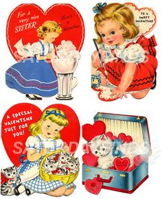 Vintage Valentines Vintage Greeting Cards  No12 by saturdayfinds, $3.25