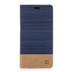Shop4 - Sony Xperia XA1 Cover - Book Case Denim and Leather Dark Blue