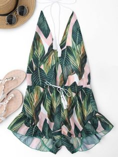GET $50 NOW | Join Zaful: Get YOUR $50 NOW!http://m.zaful.com/drawstring-backless-leaf-print-beach-romper-p_284132.html?seid=1501304zf284132