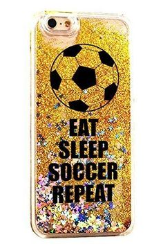 iPhone 7 Plus Case Soccer Eat Sleep Soccer Repeat NPGold Cover For iPhone 7 Plus Luxury Soft Bling Glitter Sparkle Hybrid Bumper Case with Liquid Infused with Glitter and Stars Fits iPhone 7 7S Plus - Football Soccer
