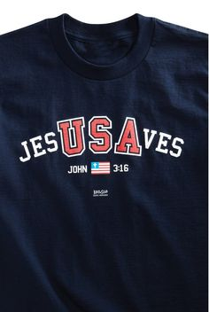 Perfect for wearing to a Fourth of July cookout or parade, this navy blue T-shirt is the perfect way to spread the message that Jesus Saves! The unique design on the front of this adult tee pulls out the letters USA in the words Jesus Saves to create a bold statement about faith in country, as well as faith in God. Below that, an American flag is flanked by the reference John 3:16.