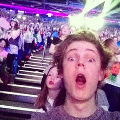 Caspar at 1D concert!:D<< hes more excited than the girl behind him!