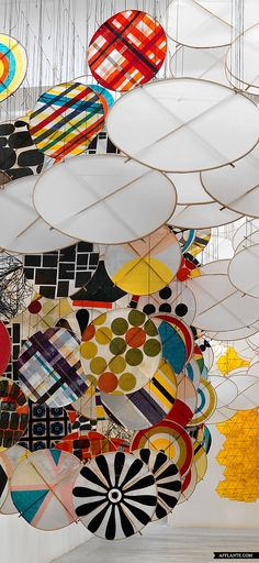 DIY Decor Idea - Could work with Embroidery Hoops | Artist: Jacob Hashimoto