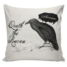 Halloween Cushion Pillow Cover Edgar Allen Poe by UrbanElliott