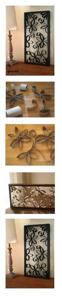 DIY Toilet Paper Roll Wall Decoration - create larger versions to hang in the living room by the TV