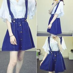 "Fashion falbala braces cowboy skirt  Coupon code ""cutekawaii"" for 10% off"