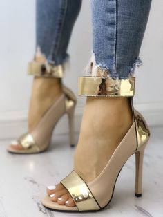 3556a4970ab Shop Colorblock Splicing Open Toe Thin Heeled Sandals – Discover sexy women  fashion at IVRose