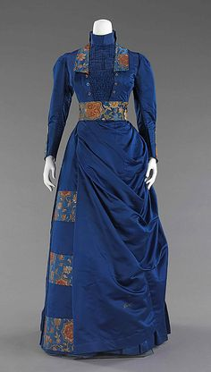 Dressmaker unknown, ca 1885-88.  American.  Afternoon ensemble.  Part 2. Unusual detailing for the time- shows a Japanese & arts & crafts influence to me.