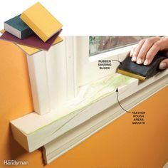 The right tool improves the sanding job: A folded sheet and finger pressure work great for most areas. A rubber sanding block is comfortable to grip, works well with feathering and lets you apply more even pressure in stubborn areas like windowsills.A sanding sponge or pad conforms readily to curves and crevices.
