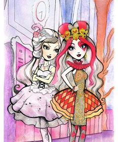 Bots & Babes Blog | Ever After High - Watercolors of Lizzie Hearts and...