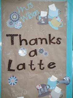 Cute.  Letters covered with coffee beans, gift cards in cups