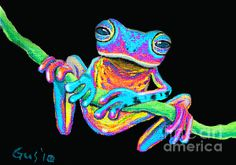 Frogs Painting - Tropical Rainbow Frog On A Vine by Nick Gustafson Ciel Pastel, Frosch Illustration, Pop Art, Frog Tattoos, Frog Pictures, Cute Frogs, Neon, Frog And Toad, Arte Pop