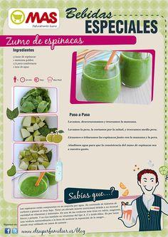 Zumo verde para la ANEMIA: espinacas, manzana golden y pera conferencia Juicer Recipes, Smoothie Diet, Detox Drinks, Deli, Health And Beauty, Lunch, Healthy Recipes, Snacks, Fruit