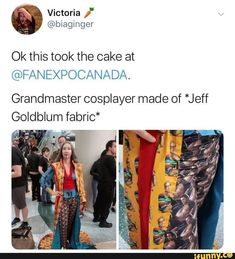 Ok this took the cake at Grandmaster cosplayer made of *Jeff Goldblum fabric* - iFunny :) Marvel Jokes, Marvel Funny, Marvel Dc, Really Funny Memes, Stupid Funny, Hilarious, Cosplay, Fandoms, Marvel Characters