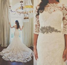 2015 Lace Vintage Wedding Dresses Garden With Half Sleeves Beaded Applique Chapel Train Mermaid Bridal Gowns Beach from Bridalmuse,$121.47 | DHgate.com