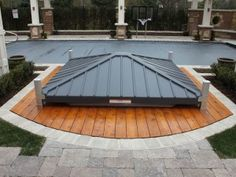 Automated Hot tub cover/gazebo. Covana in down and locked position
